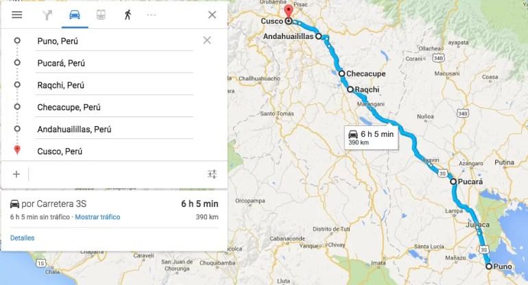 Mapa del trayecto de Puno a Cusco
