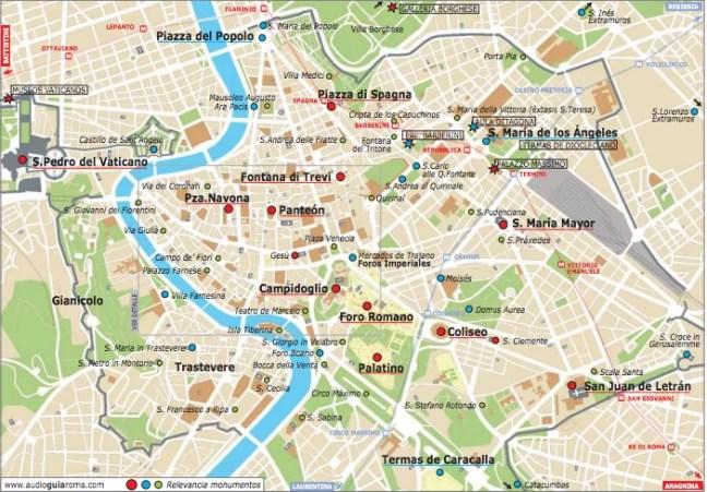 Plano de Roma y sus principales atractivos turísticos