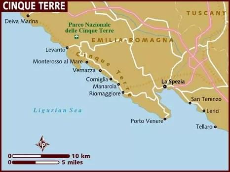 Mapa de la zona de Cinque Terre de la web de Lonely Planet