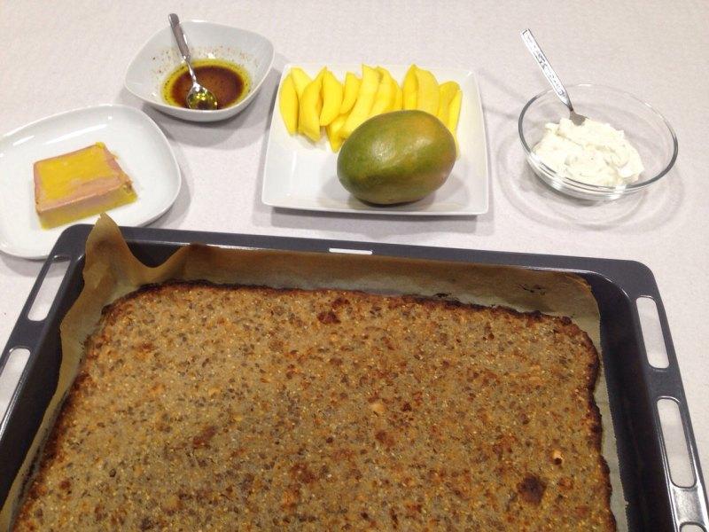 masa de muesli para con foie y mango