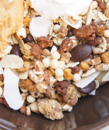 muesli con crema de cacahuete