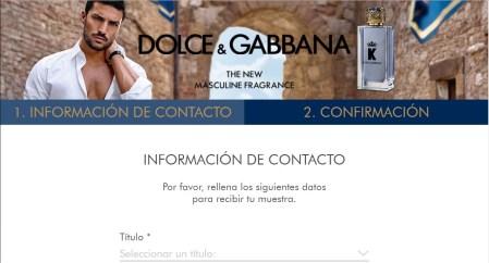 muestra gratis perfume Dolce y Gabbana