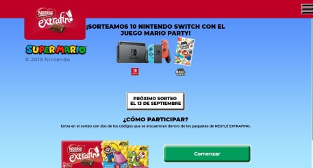 nestle extrafino sorteo nintendo switch