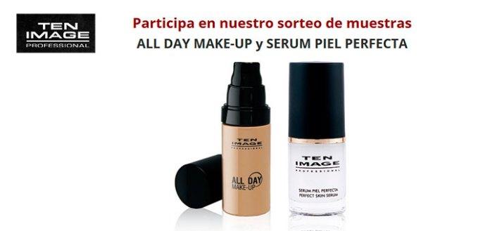 Muestras de maquillaje y sérum con Ten Image