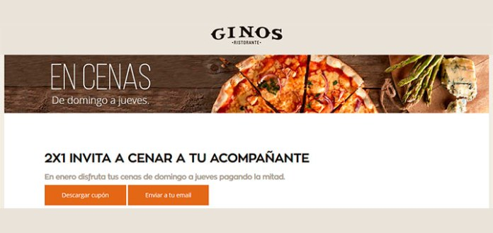 2x1 en Ginos Restaurante