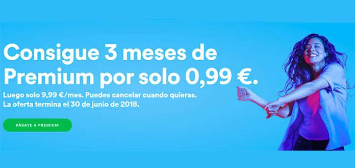 3 meses de Spotify Premium por sólo 0.99 euros