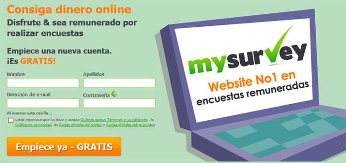 Consigue dinero online con MySurvey
