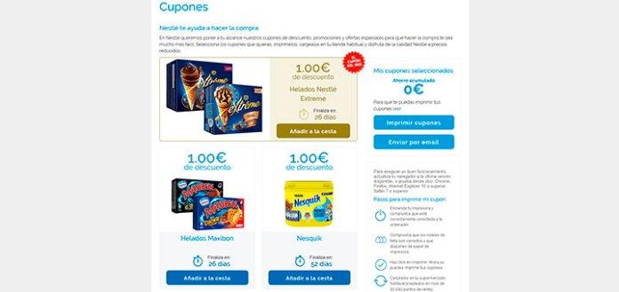 Cupones descuento Nestlé verano 18