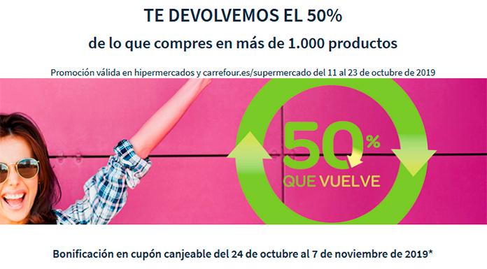 Carrefour te devuelve el 50% de la compra
