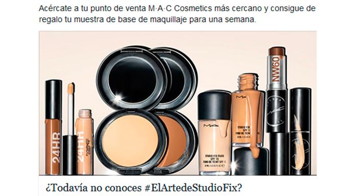 Muestra gratis de base de maquillaje MAC Cosmetics