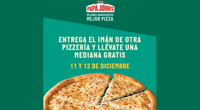 Llévate gratis una pizza con Papa John's Pizza