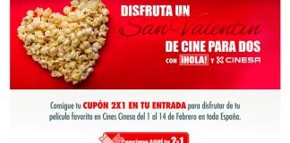 Este San Valentín 2x1 en cines Cinesa y Hola