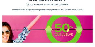 Carrefour te devuelve el 50% de la compra en un cupón canjeable