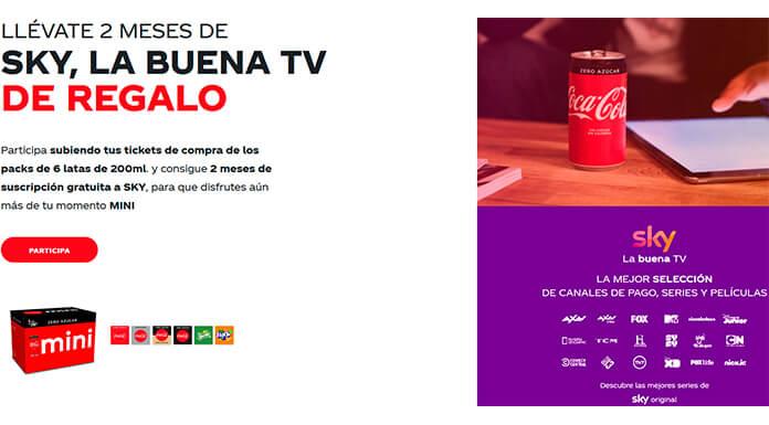 Llévate 2 meses de Sky de regalo con Coca Cola