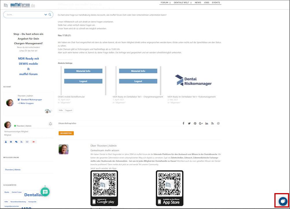 Chat-Symbol auf ausgewählten Seiten