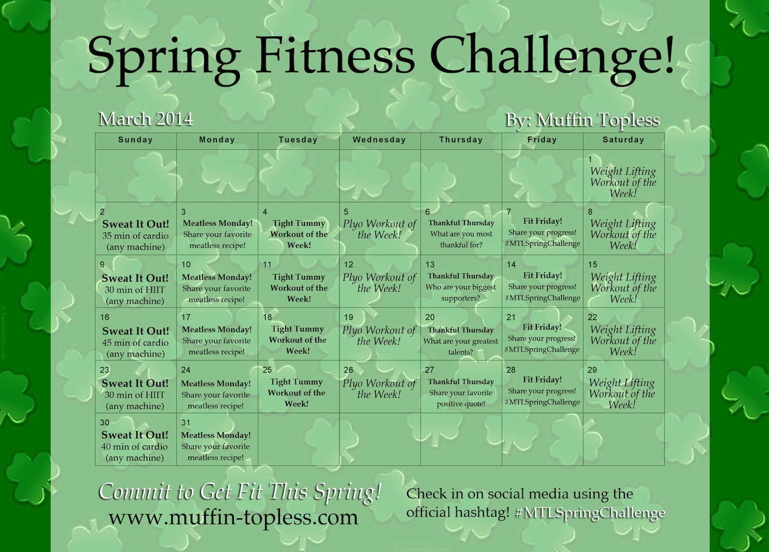 FREE Spring Fitness Challenge to get you bikini ready for Spring Break and Summer!