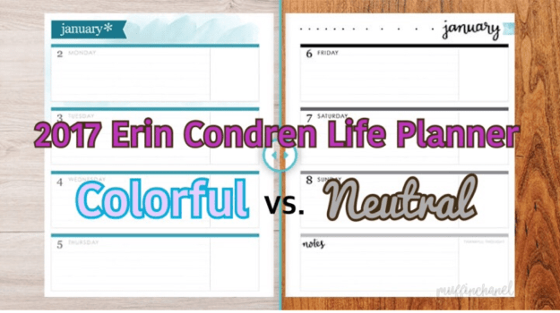2017 erin condren life planner colorful vs neutral horizontal muffinchanel