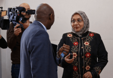 Muflehun Executive Director being interviewed by press