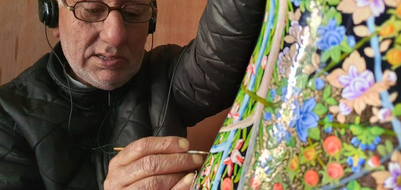 Adding real gold to papier mache art of Kashmir, real gold papier mache