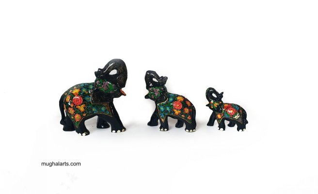 Black elephant figurines, Mughal art and culture,