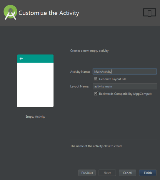 customize activity android studio