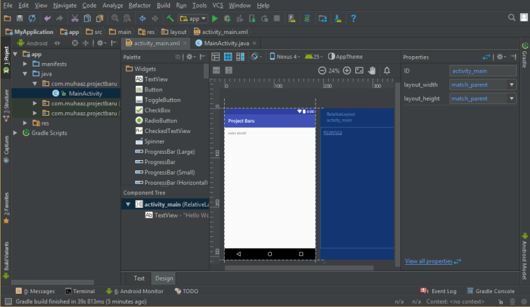 layout screen android studio