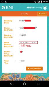 request bdo/vcn berhasil dan muncul nomor vcn di aplikasi mobile banking bni