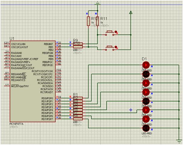 Assembly Dili ile PIC16F877A Programlama proteus çizimi
