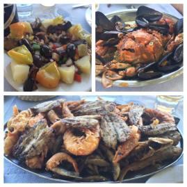 Ensalada de pulpo y patata, cangrejo con mejillones y mariscada