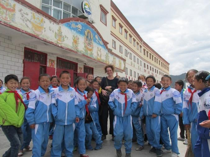 En una escuela en la provincia de Gansu, China