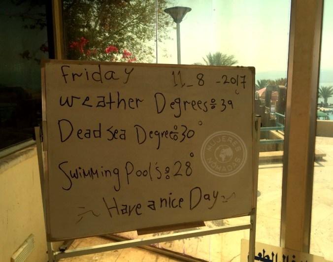 Información referente al lugar. Las temperaturas en agosto son muy altas.