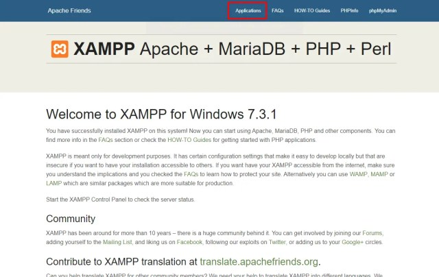 XAMPP Aplications