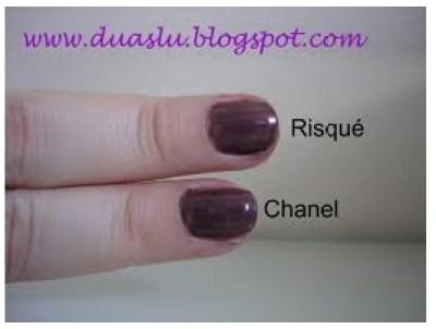 Comparação de esmaltes: Risqué Fast Fashion 03 x Chanel Paradoxal