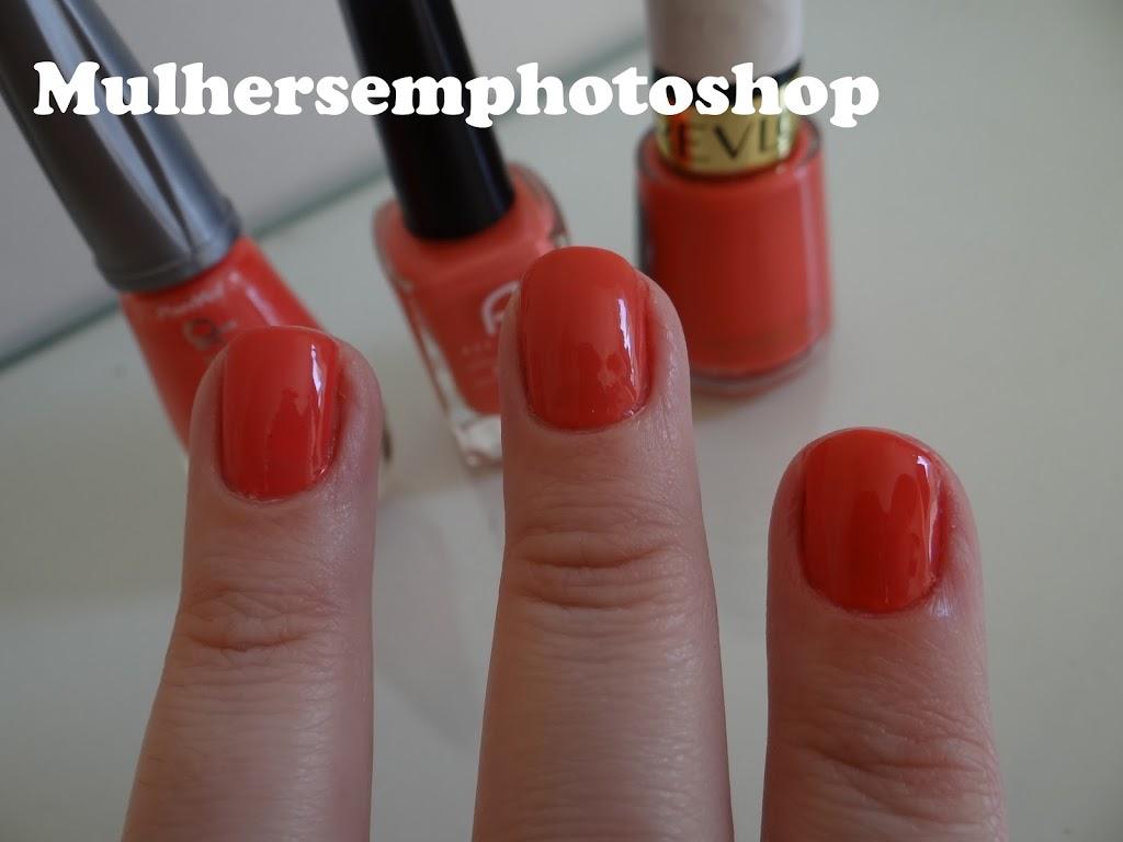 Comparação Esmaltes Coral - laranja - Revlon, Ana Hickmann e Panvel