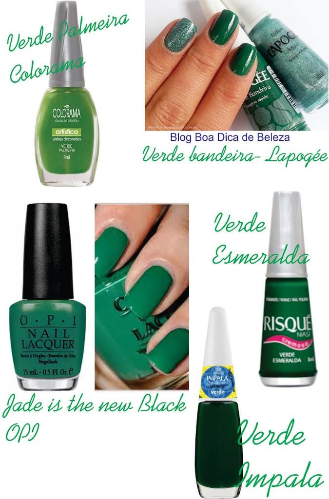 esmalte verde - opções de cores