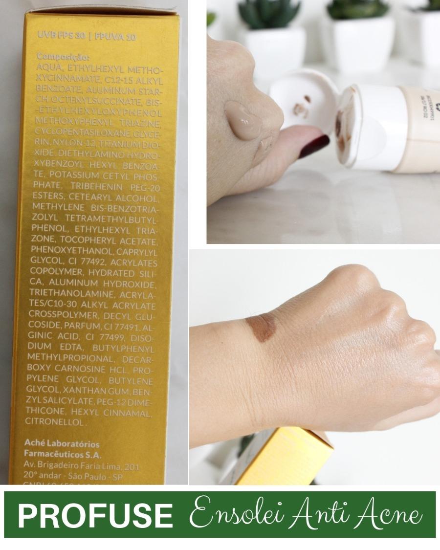 Ensolei AntiAcne da Profuse - resenha protetor solar com cor