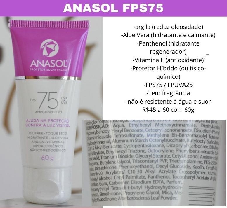 Anasol FPS75 Protetor Solar resenha e composição