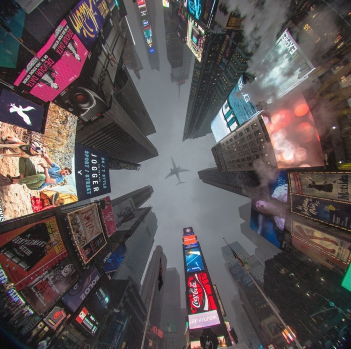 Times Square, Nova Iorque, EUA. Uma vista de baixo