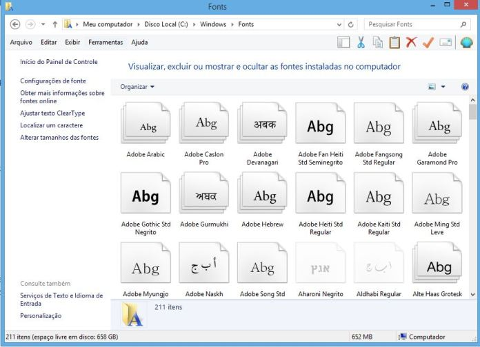 Pasta de fontes do Windows