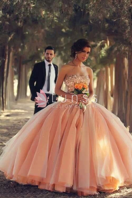custom-made-blush-pink-colored-strapless-sequins-wedding-dress-1