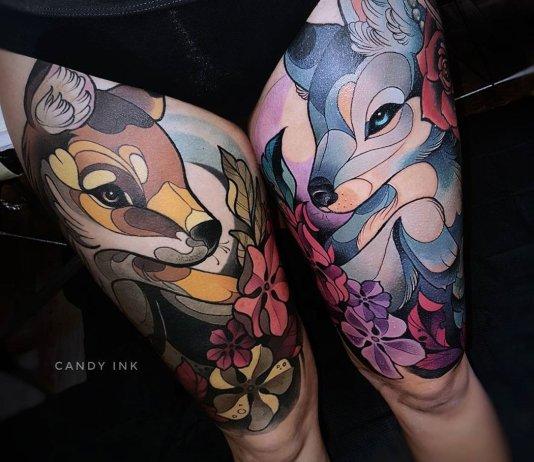Tatuagens femininas nas pernas