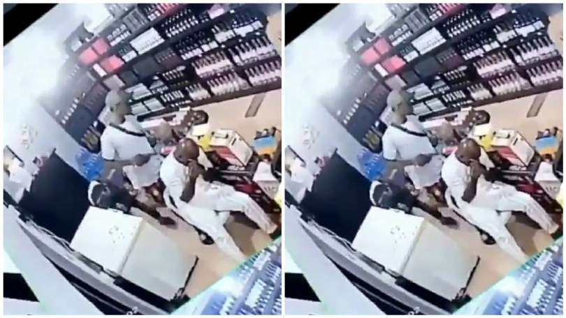 (Video) Armed robbers were caught on CCTV camera robbing a wine shop in Lagos
