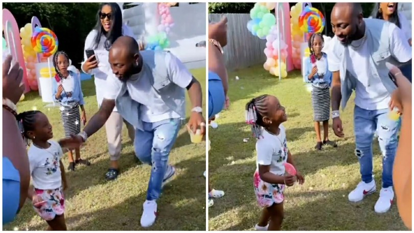 (Video) DMW CEO Davido Playfully spanked his daughter for twerking on her birthday