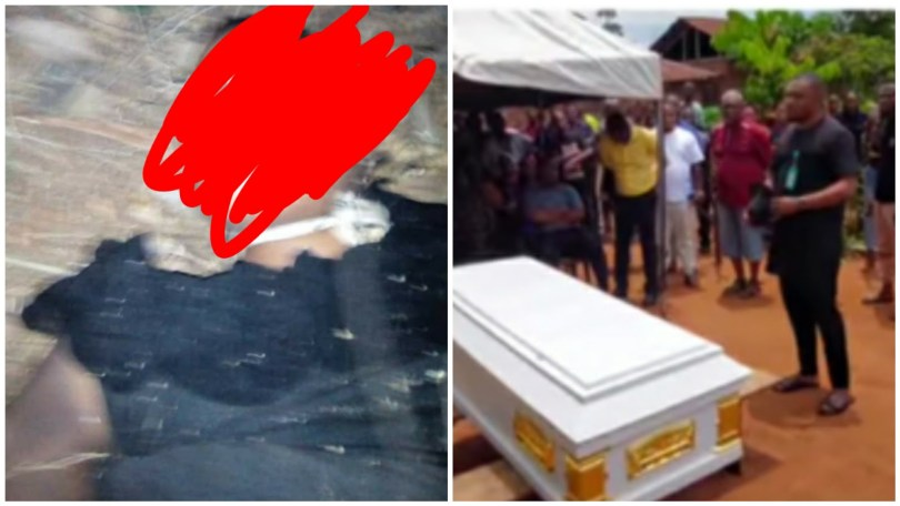 (Video) 23-year-old lady buried after being raped and strangled to death by rapist in Ubulu Uku, Delta state