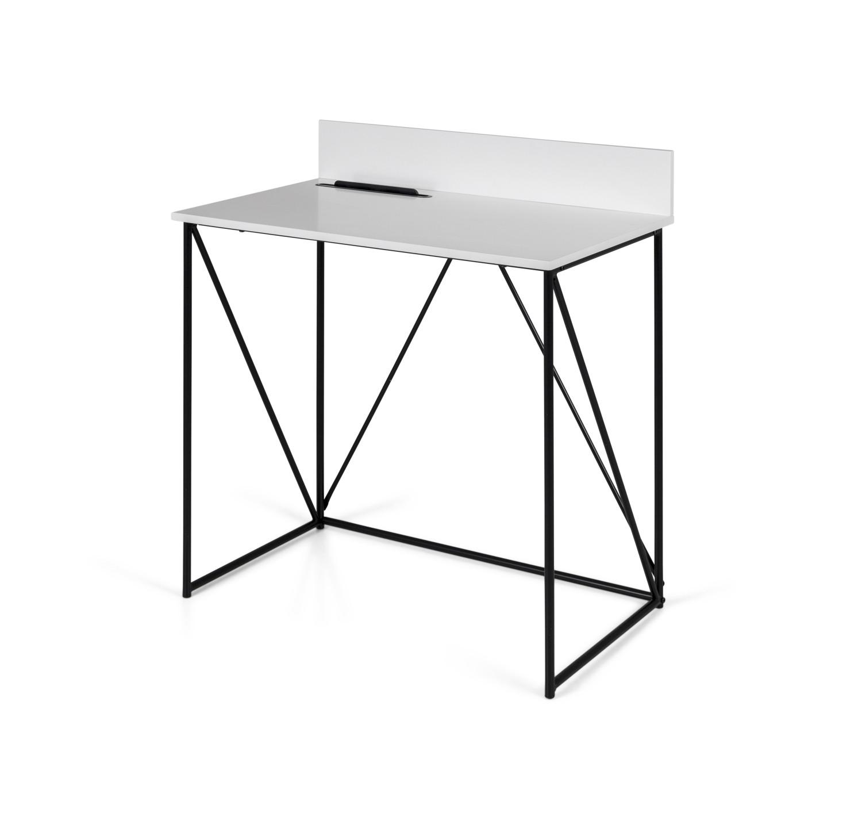 Super Fint Lille Hvidt Skrivebord Med Sort Metalstel Og Hoj Bagkant