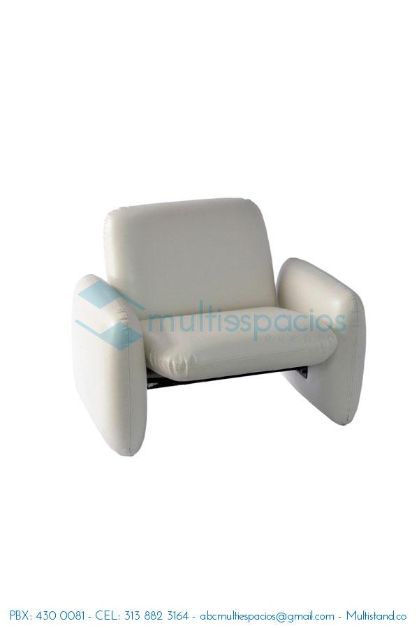 Alquiler de poltrona blanca, salas Lounge, poltronas, puff, sillas y mesas en Bogotá
