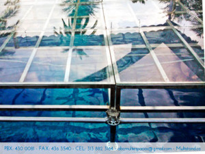 Alquiler de piso en vidrio, tarimas en vidrio