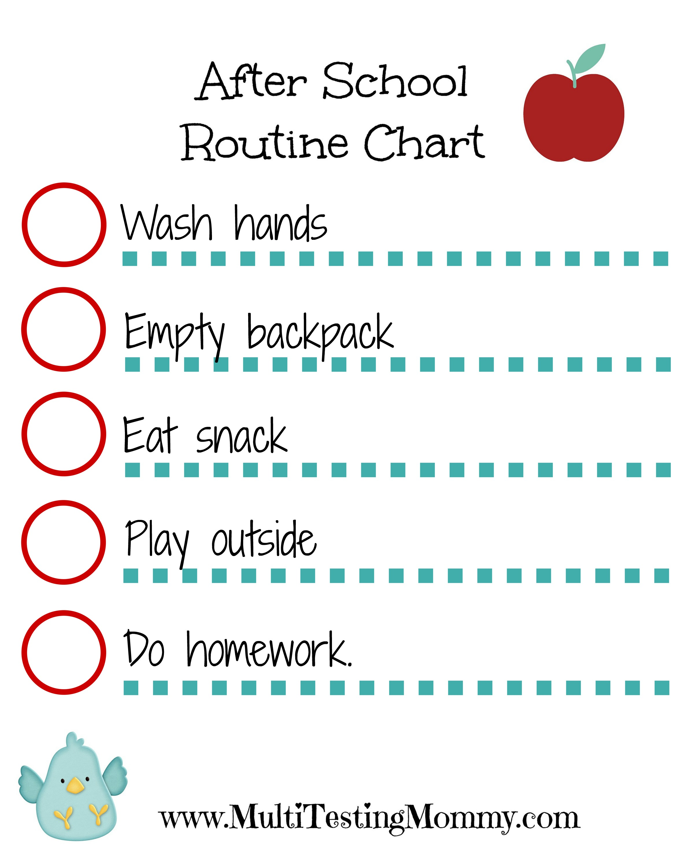 After School Routine Chart Printable