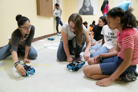 Students can learn to write basic programs that make Rover do things like draw, dance or crash.