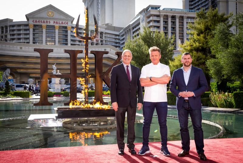 Chef Gordon Ramsay flanked by Gary Selesner, Caesars Palace Regional President, and Ed Simpson, EVP Business Development and International, ITV